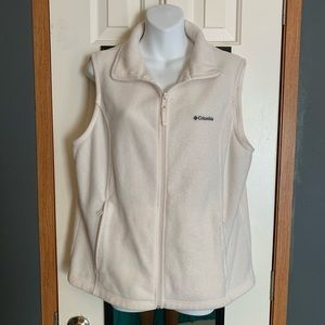Columbia womens XL Full Zip Up Fleece Vest white